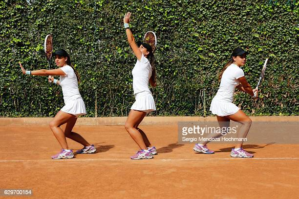 A multiple image of a young latin woman in tennis poses
