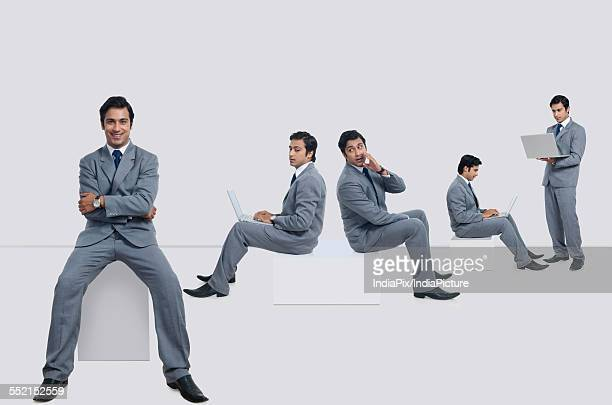 Multiple image of businessman performing various tasks against white background