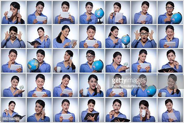 Multiple image of businesswoman doing various tasks