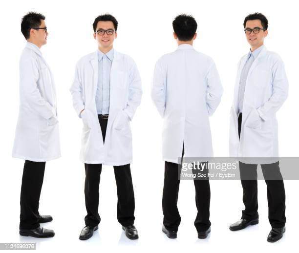 multiple image of doctors people standing against white background - laborkittel stock-fotos und bilder