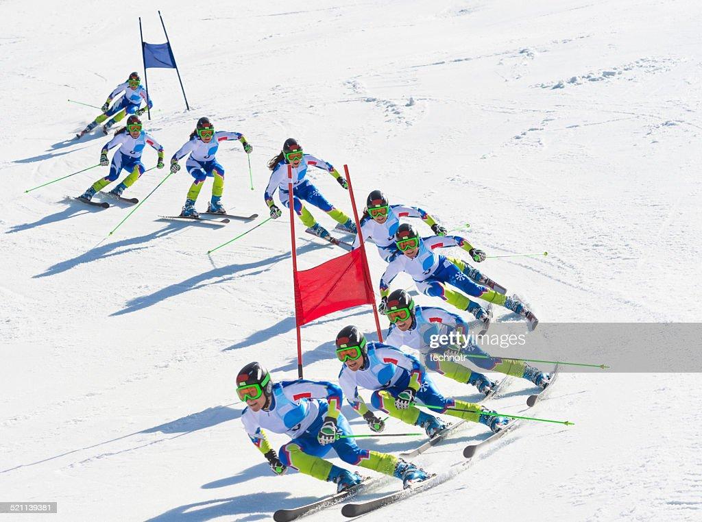 Multiple Image of Female Giant Slalom Skier During the Race : Stock Photo