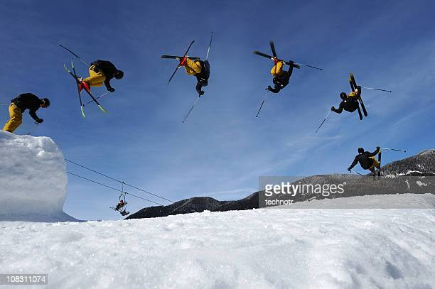 multiple image of free style skier - freestyle skiing stock pictures, royalty-free photos & images