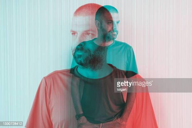 multiple image of handsome man against - part of a series stockfoto's en -beelden