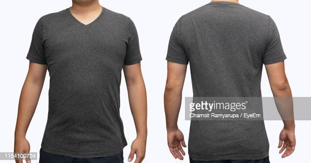 multiple image of man standing against white background - gray shirt stock pictures, royalty-free photos & images