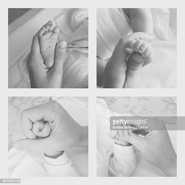 Multiple Image Of Mother Holding Baby Legs And Hands At Home