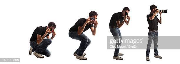 Multiple Image Of Photographer Against White Background