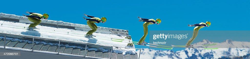 Multiple image of ski jumper at take off : Stock Photo