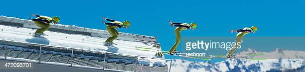 multiple image of ski jumper at take off - ski jumping stock pictures, royalty-free photos & images