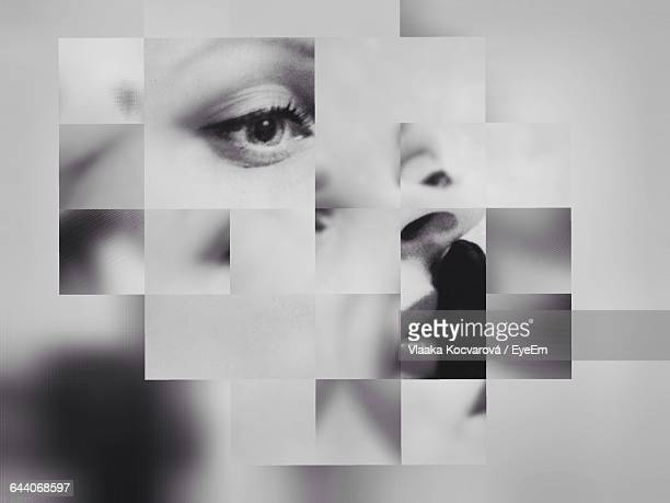 multiple image of woman face - multiple image stock pictures, royalty-free photos & images