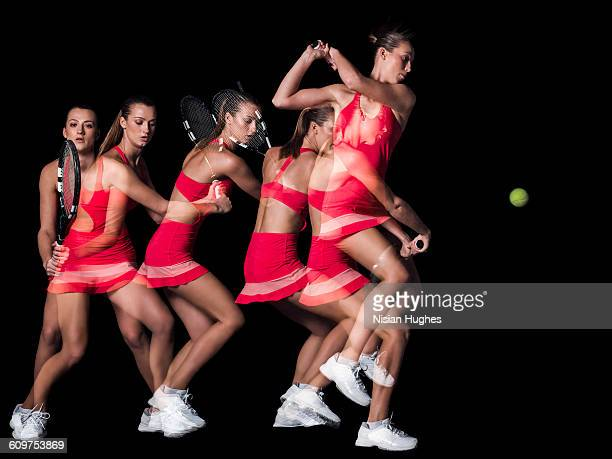 multiple image of woman playing tennis, backhand - taking a shot sport stock pictures, royalty-free photos & images