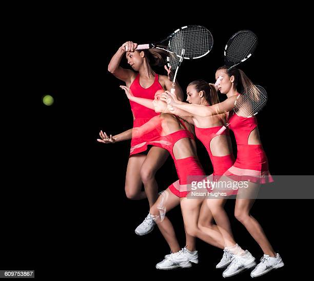 Multiple image of woman playing tennis