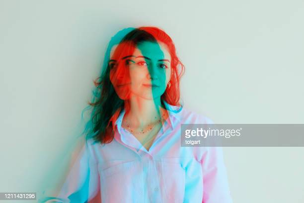 multiple image of young women against - multiple exposure stock pictures, royalty-free photos & images