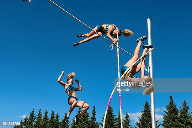 multiple image of  young women performing pole vault - high jump stock pictures, royalty-free photos & images