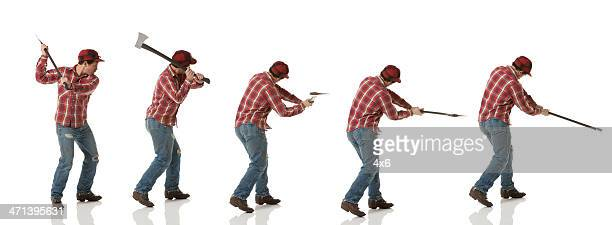 Multiple images of a lumberjack in action