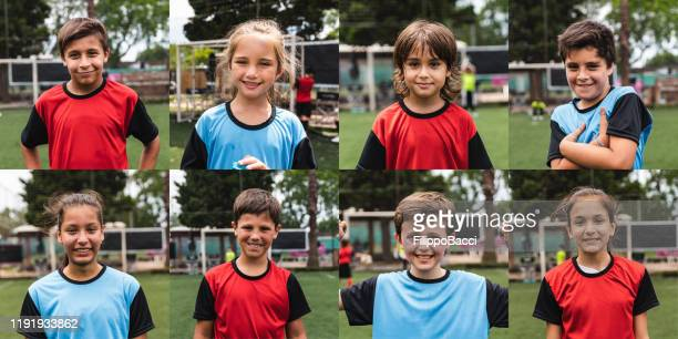 multiple images of kids of two soccer teams. mixed teams of girls and boys - football team stock pictures, royalty-free photos & images