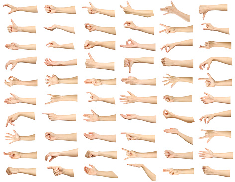 Multiple images set of female caucasian hand gestures isolated over white background 925024772