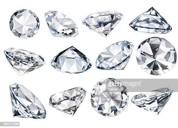 Multiple Isolated White Faceted Diamonds at Various Angles Clipping Path