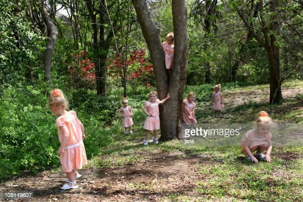 Multiple Little Girls Playing Outside