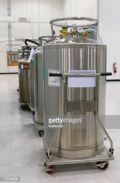 Multiple nitrogen tanks inside an industrial building