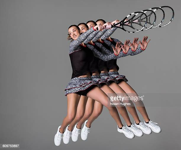 multiple of woman playing tennis hitting forhand - match sport stockfoto's en -beelden