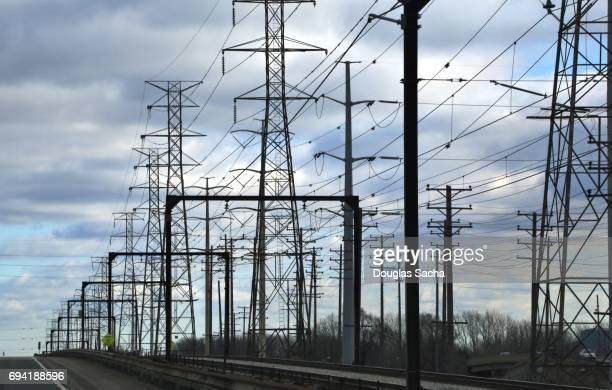 Multiple overhead power lines