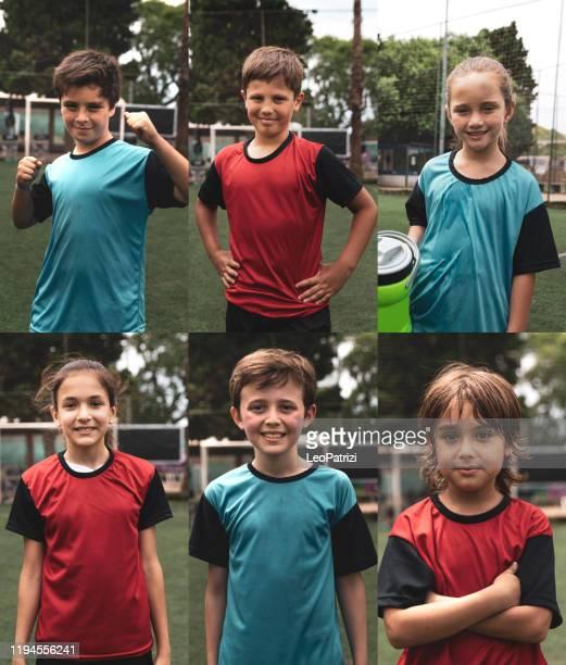flera porträtt komposit av unga blandade pojkar och flickor fotbollsspelare - fotboll lagsport bildbanksfoton och bilder