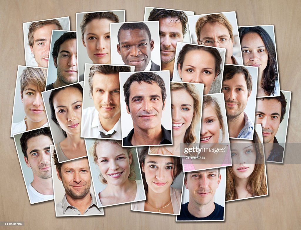 Multiple portraits arranged on cupboard : Stock Photo