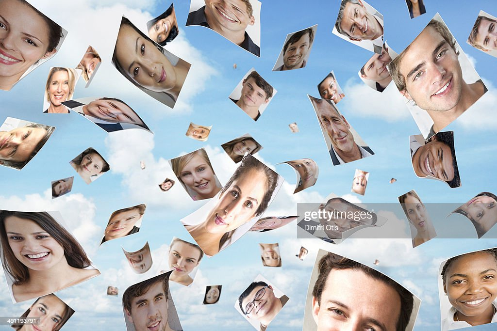 Multiple portraits blowing in the wind : Stock Photo