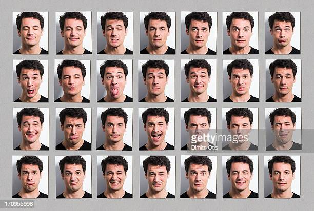 multiple portraits of mans face, many expressions - multiple image stock pictures, royalty-free photos & images