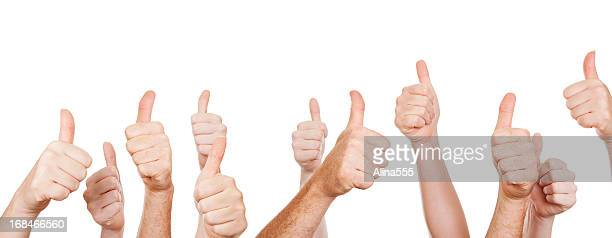 Multiple raised hands with thumbs up, on white
