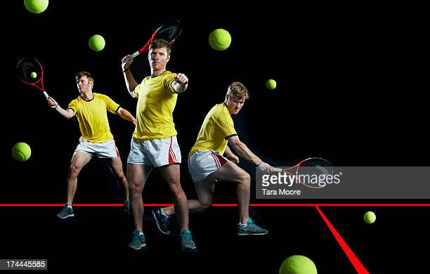 multiple shot of man playing tennis - tennis ball stock pictures, royalty-free photos & images