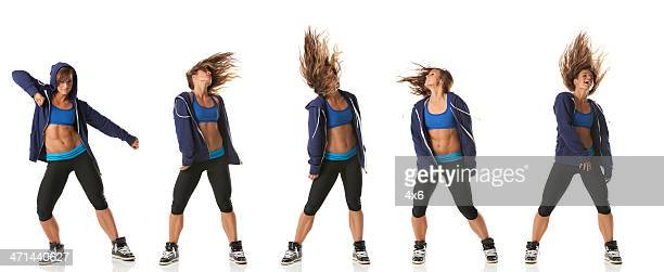 Multiple shots of a dancing woman