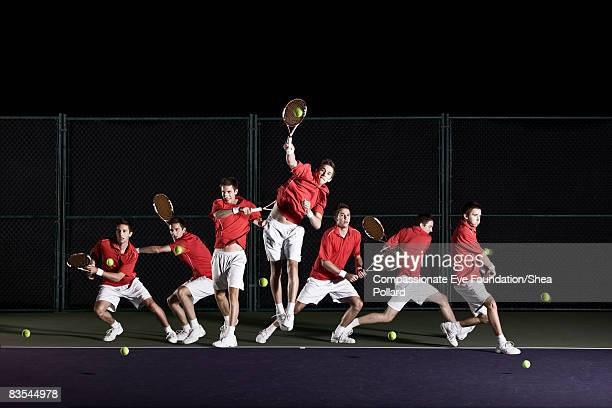 multiple shots of tennis player returning shots. - photography stock pictures, royalty-free photos & images