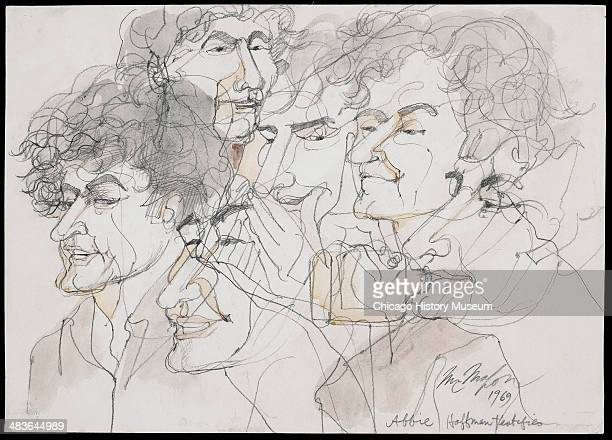 Multiple superimposed portraits of Abbie Hoffman testifying in a courtroom illustration during the trial of the Chicago Eight Chicago Illinois late...