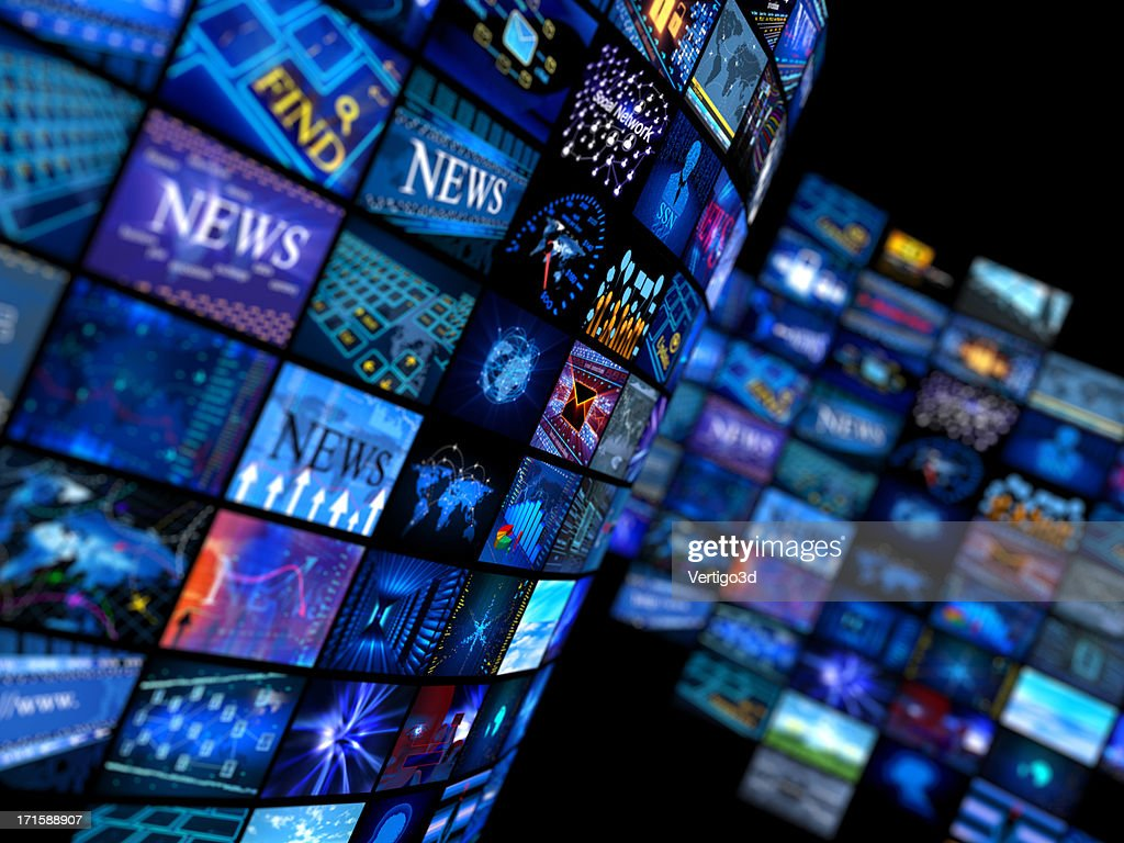 Multiple television screens in blue tones : Stock Photo