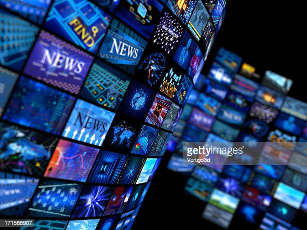 multiple television screens in blue tones - arts culture and entertainment stock pictures, royalty-free photos & images