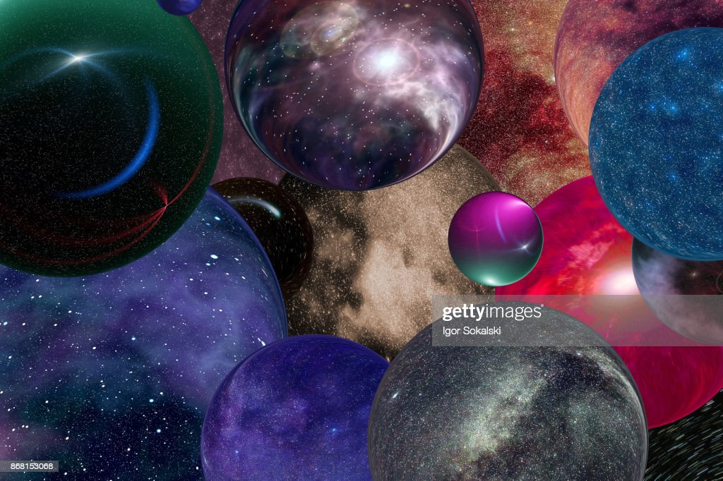 Multiple universes in the infinite  space : Stock Photo