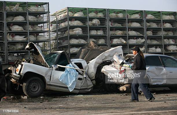 A Multiple Vehicle Pileup Occurred On Highway 99 South Of Fresno News Photo