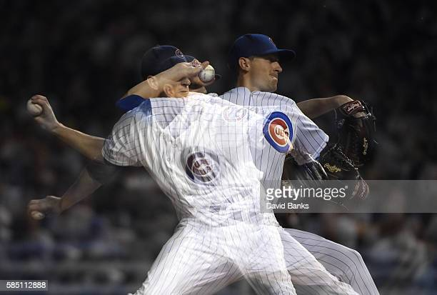 A multipleexposure sequence of Kyle Hendricks of the Chicago Cubs pitching against the Miami Marlins during the ninth inning on August 1 2016 at...