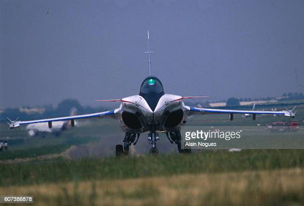 A multipurpose twinengine combat aircraft the Dassault Rafale on the runway at the 38th Paris Air Show