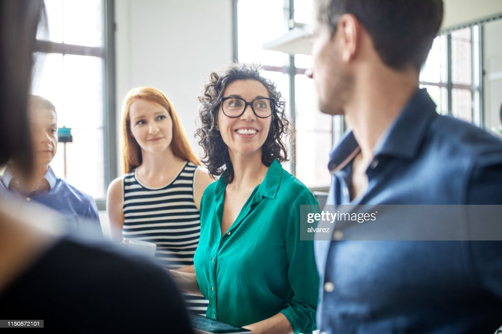 Multiracial business people having meeting in office : Stock Photo