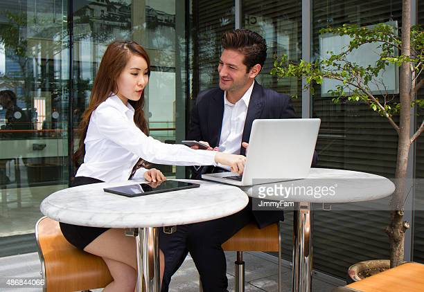 Multiracial Business Team in discussion outdoors
