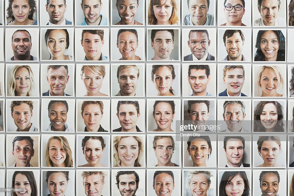 Multi-racial grid of portrait prints, all ages : Stock Photo