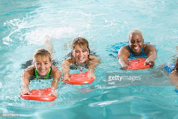 Multiracial group of woman in swimming pool