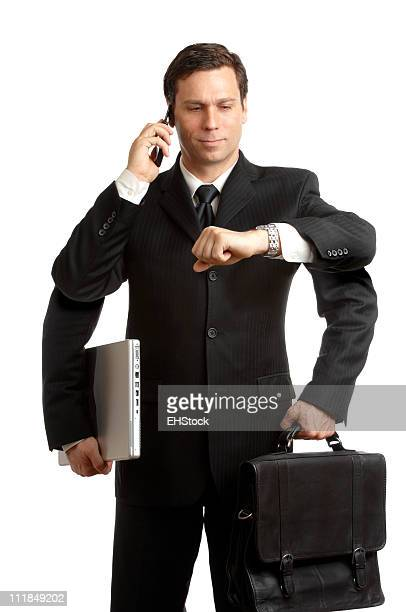 Multi-Tasker Businessman Redux four Arms Cellphone Laptop Briefcase on White