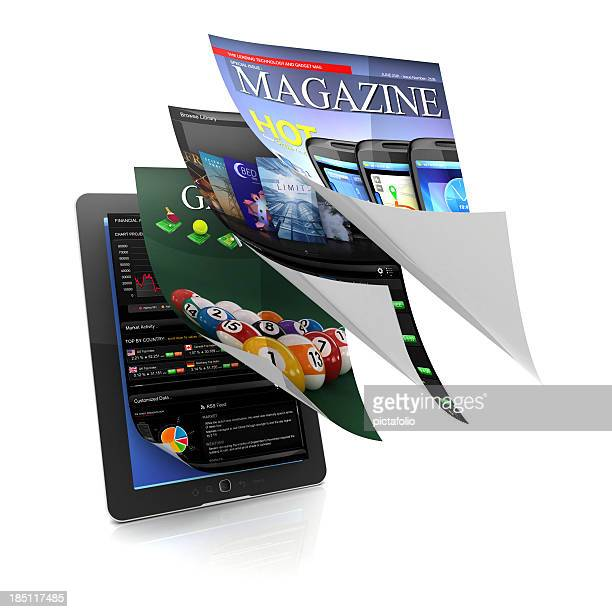multitasking and usablity of tablet - magazine page stock photos and pictures