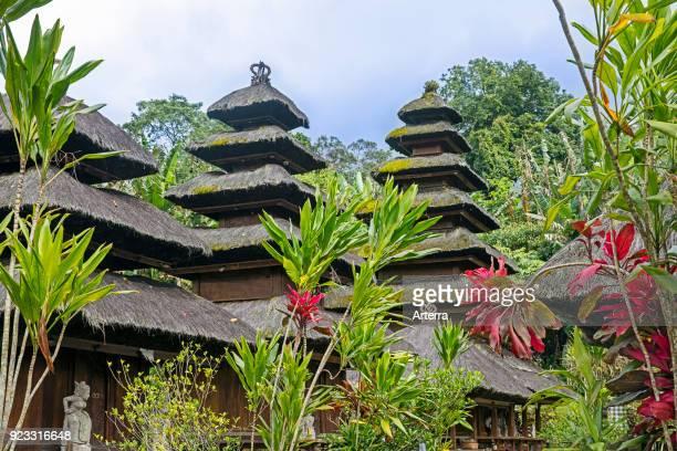 Multi-tiered meru towers at Pura Luhur Batukaru, Hindu temple in Tabanan on southern slope of Mount Batukaru, volcano on the island Bali, Indonesia.
