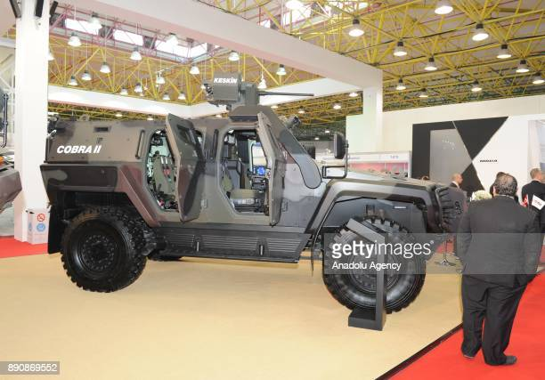 A multiwheeled armoured vehicle Cobra II 4x4 designed by Turkish firm Otokar is displayed at Gulf Defense and Aerospace Exhibition which the vehicles...