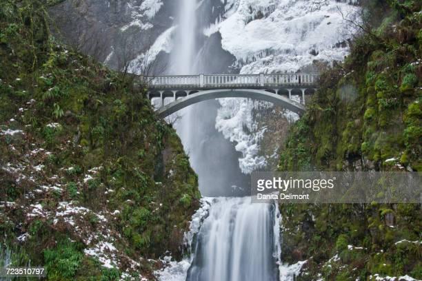 multnomah falls in winter, columbia gorge, oregon, usa - multnomah falls stock pictures, royalty-free photos & images