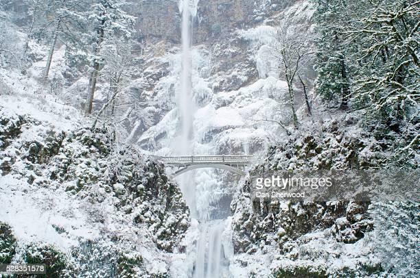 multnomah falls in winter, columbia river gorge, oregon, usa - multnomah falls stock photos and pictures
